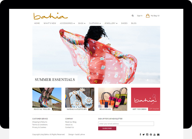 bahia ecommerce website web design cardiff swansea bristol uk