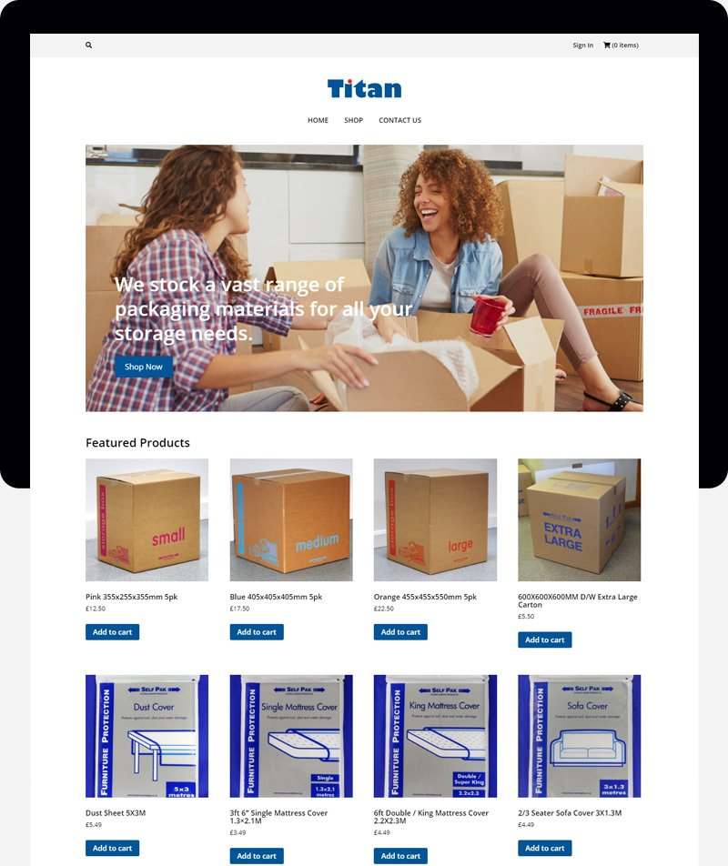 titan ecommerce Sites Cardiff web design cardiff swansea bristol uk